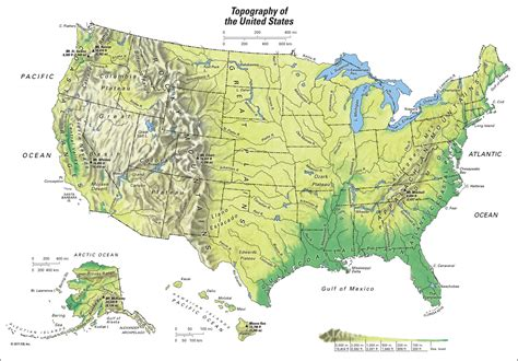 united states mountain range map united states topography of the united states