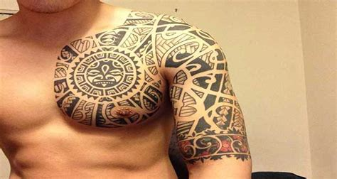chest and half sleeve tattoo design of tattoosdesign of
