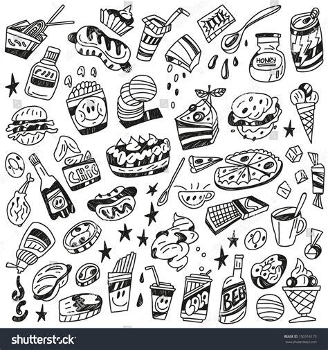fast doodle fast food doodles stock vector illustration 150316175
