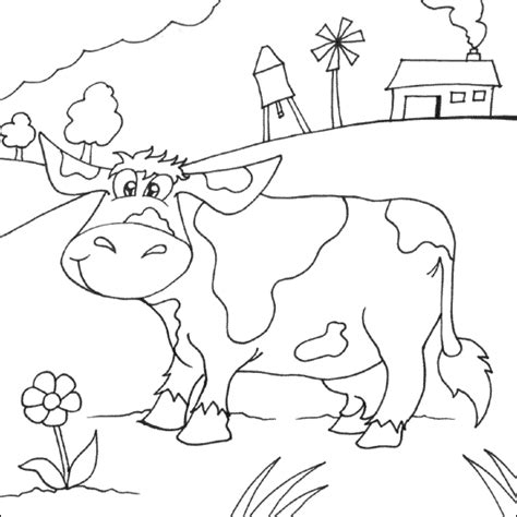 cow farm coloring page cow in field coloring picture