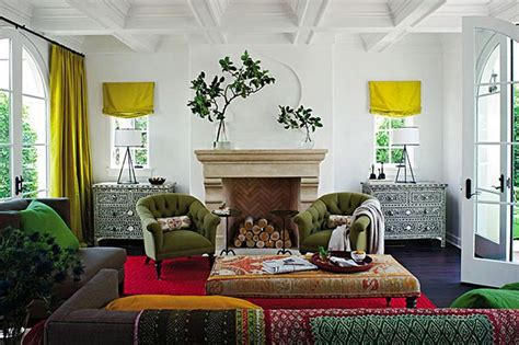 grey and chartreuse living room grey couches green armchairs chartreuse window treatments wood floors global ethnic