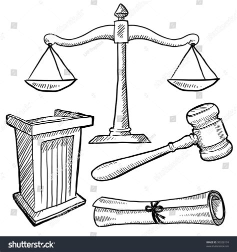 Doodle Style Justice Or Vector Illustration With