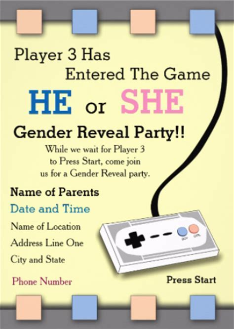 Gamer Gender Reveal Invites   Geek Baby Shower, Gender Reveal Party   Julie Wenzel Author