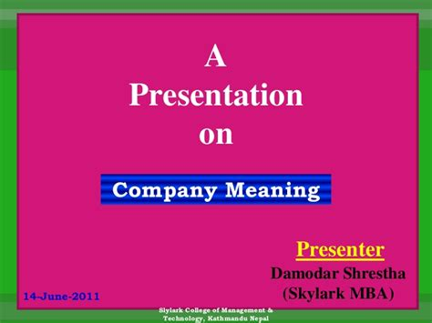 Mba In General Management Meaning by Company Meaning