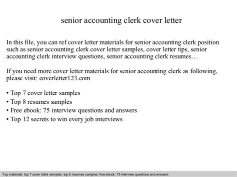 Cover Letter For Accounting Clerk Senior Accounting Clerk Cover Letter