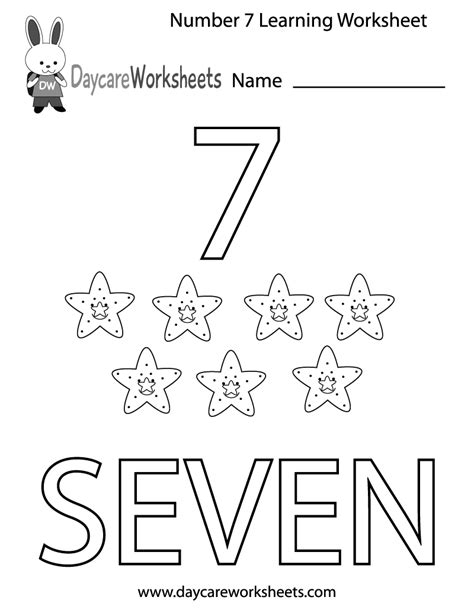 Worksheets For Students Learning by Free Preschool Number Seven Learning Worksheet