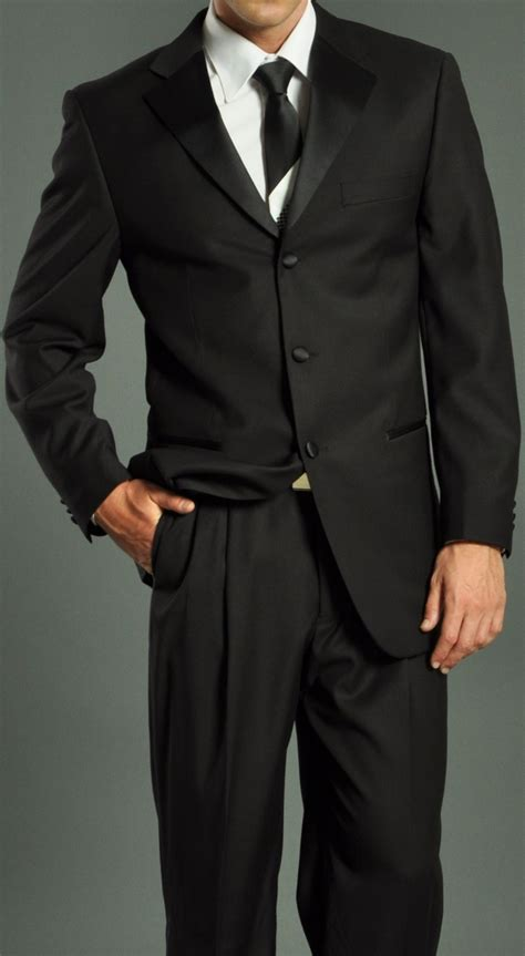 Men's Three Button Solid Black Tuxedo Suit: Men?s Suits