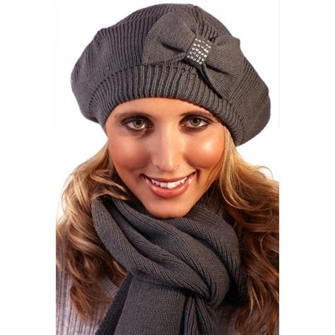 womens knitted wool diamante beret hat and scarf set