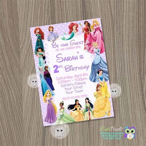 princess invitations etsy disney princess invitation princess birthday invitation