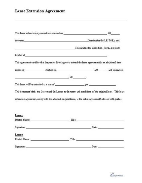 Lease Extension Form Business Forms Pinterest Extensions Free Printable And Property Dc Residential Lease Agreement Template