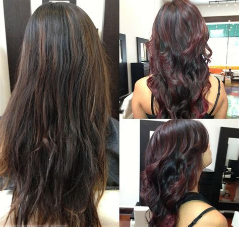 should bangs be highlighted dying black dark brown hair burgundy red how should i dye