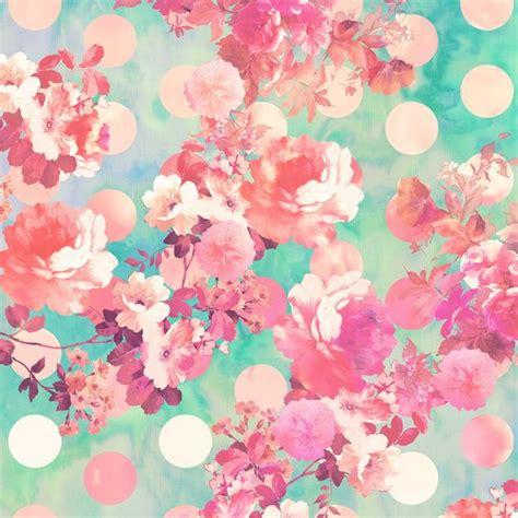 wallpaper teal flower romantic pink retro floral pattern teal polka dots art