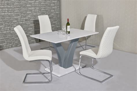 White High Gloss Dining Table And 4 Chairs White Grey High Gloss Dining Table And 4 White Chairs Ebay