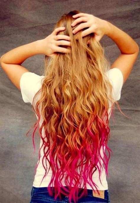 dip dyed red hairstyles pink red dip dye hair nails clothes pinterest