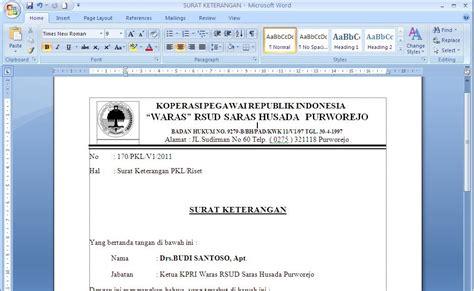 contoh surat keterangan pkl riset contoh surat dan kebutuhan anda