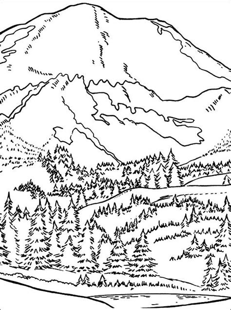 Mountain Coloring Page Coloring Pages Art Printables Mountain Coloring Page 2