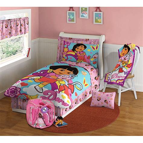 dora bedroom nickelodeon dora the explorer toddler bedding set walmart com
