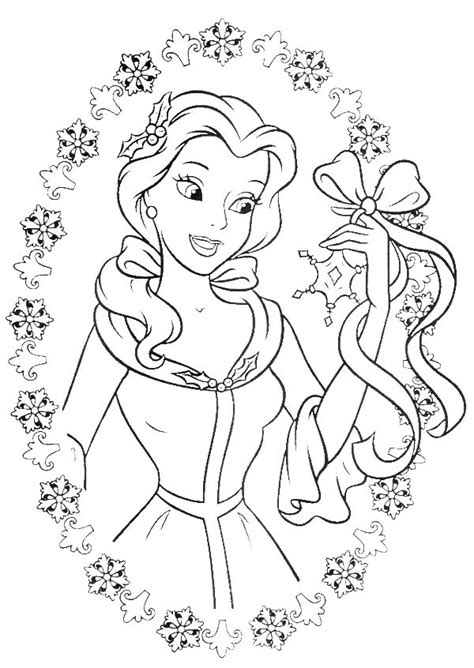 Belle Christmas Coloring Pages | princess belle love to get gifts in christmas day coloring