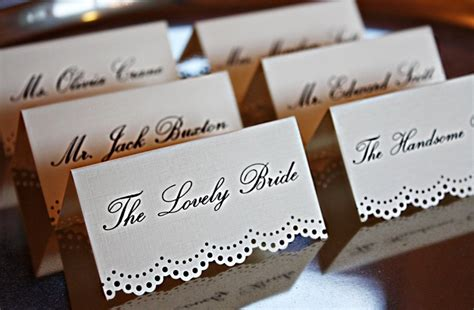 Handmade Place Cards - handmade lace edge place cards my work