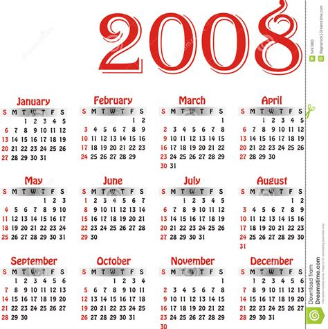 Calendrier De 2008 Calendrier 2008 De Vecteur Photo Stock Image 3497860