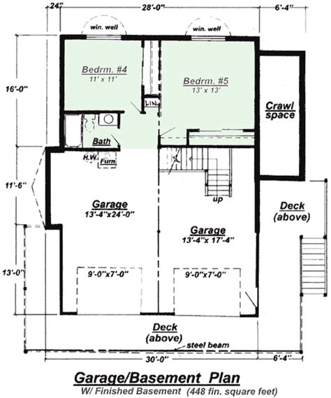 ranch with finished basement house plans home design and style