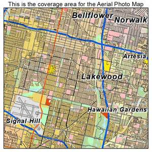 aerial photography map of lakewood ca california