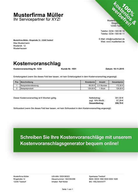 Kostenvoranschlag Vorlagen kostenlos downloaden