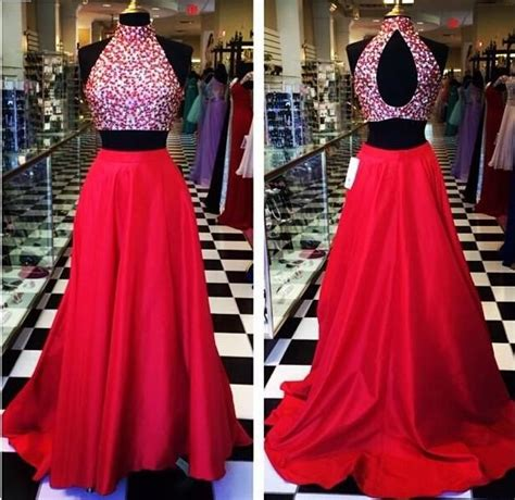 c section gown two piece prom dresses 2015 open back red sexy crystal