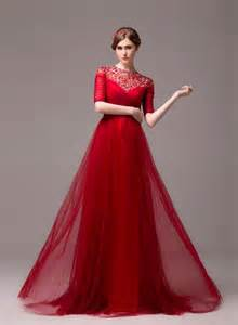Formal long evening dress half sleeve beading evening party dress