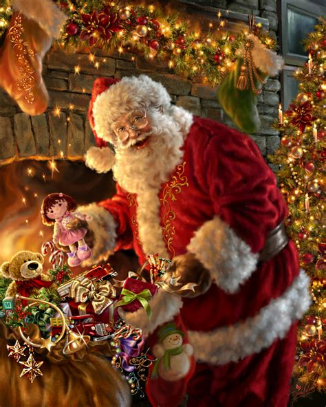 santa claus filling the stocking by dona gelsinger