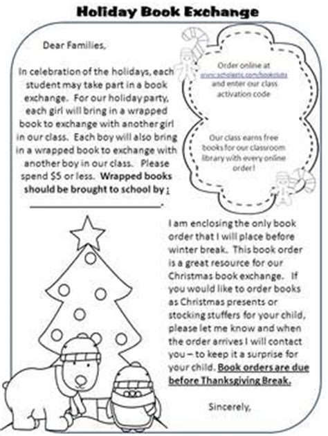 Sle Memo Gift Exchange book exchange letter classroom celebrations