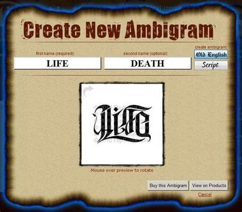 tattoo sign generator ambigram tattoo generator free ambigram pinterest