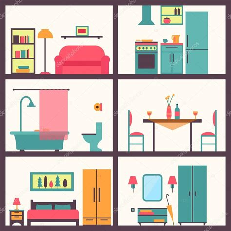 rooms in a house house rooms with furniture icons stock vector 169 elvetica