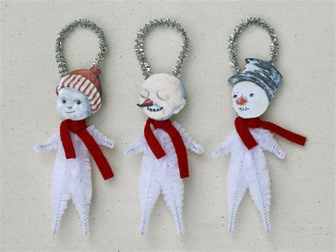 snowman christmas ornaments handmade holiday ornaments