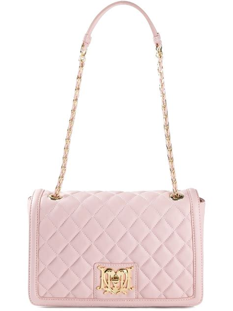 Quilted Shoulder Bags by Moschino Quilted Leather Shoulder Bag In Pink Lyst