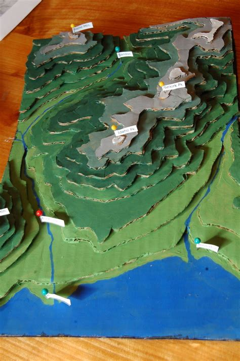 on a topographic map what is used to show elevation make a cardboard 3d model of your area using local