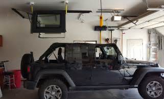 Jeep Wrangler Hardtop Lift Electric Hoist And Lift Installed In Garage For Jeep