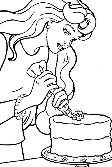 coloring pages of barbie decorating cake coloring