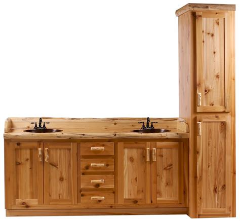 Bathroom Vanity Linen Cabinet Timberline Log Vanity And Linen Cabinet The Log Furniture Store