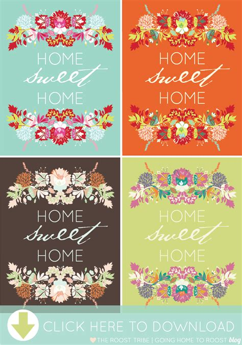 home sweet home printable going home to roost