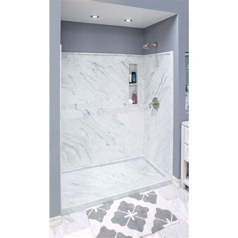 Corian Shower Kit shop style selections white carrara solid surface wall and