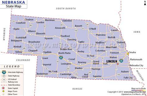 usa map nebraska state map of nebraska