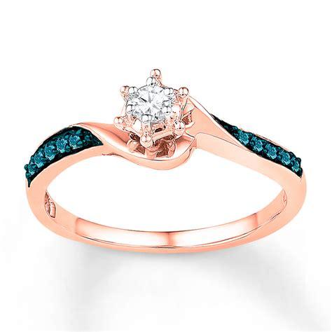 promise ring 1 6 ct tw blue white 10k gold