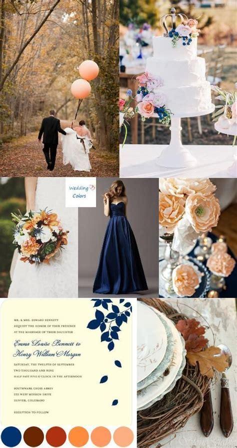 Navy Blue Fall Wedding Palette   Navy, peach, light yellow