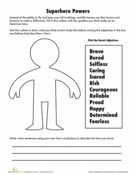 heroes printable worksheets adjectives to describe a hero worksheet education com