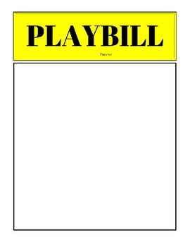playbill template free playbill template free by words and bobbins teachers