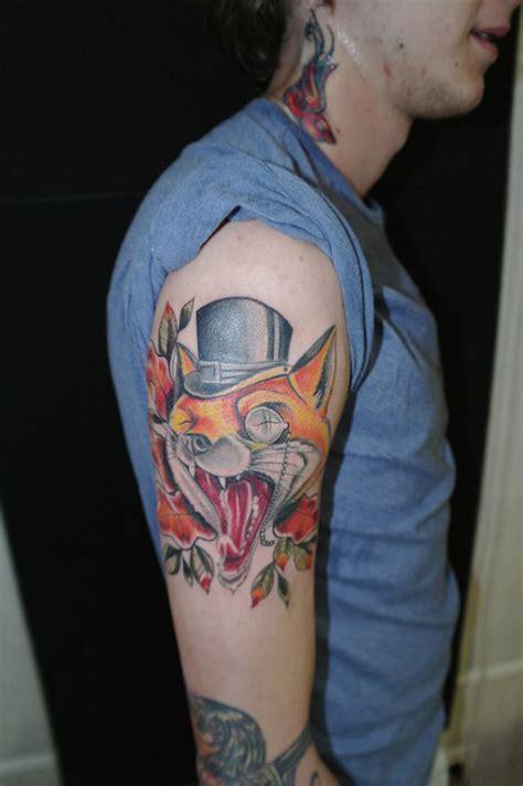 new school fox tattoo yawning fox new school tattoo best tattoo ideas gallery