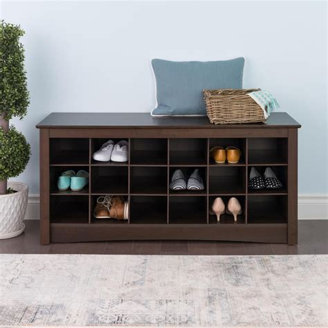 shoe storage cubbie prepac shoe storage cubbie bench in espresso the home
