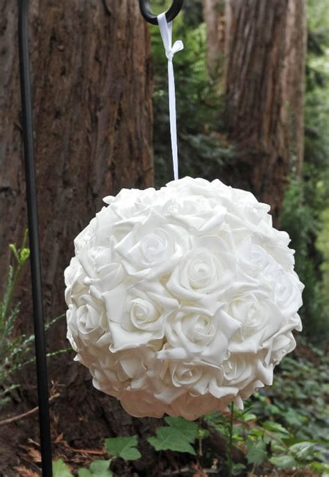 hanging natural touch rose flower ball white  wedding