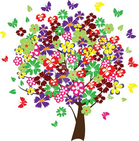 colorful trees colorful tree with butterflies by artbeautifulcloth on